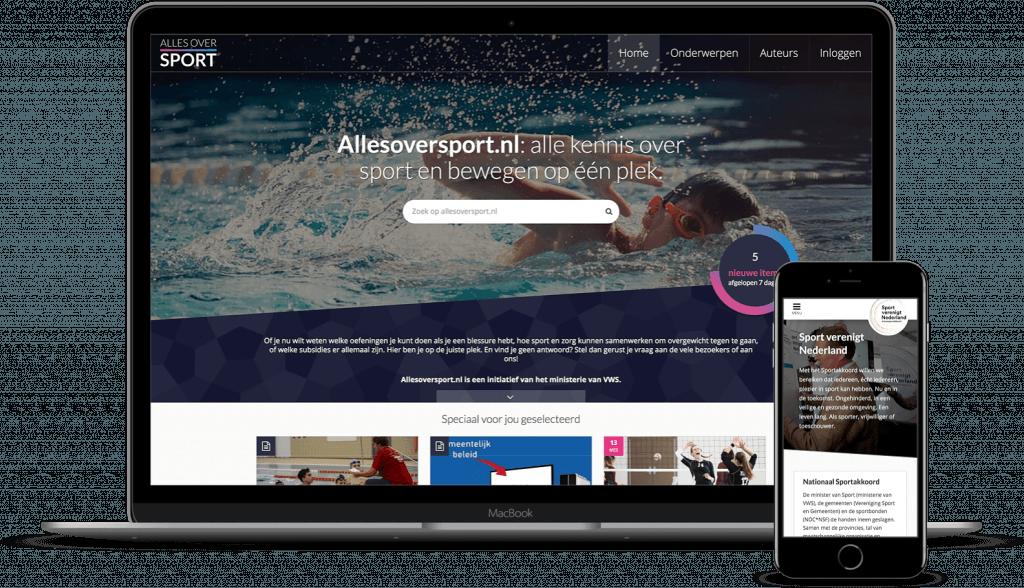 screenshot WordPress content platform www.allesoversport.nl