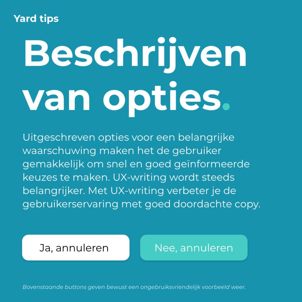 Een visuele tip om te laten zien hoe belangrijk het is om de juiste woorden te kiezen in jouw buttons.